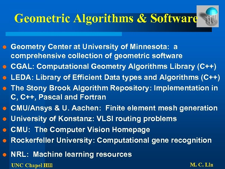 Geometric Algorithms & Software l Geometry Center at University of Minnesota: a comprehensive collection