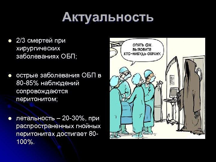 Актуальность l 2/3 смертей при хирургических заболеваниях ОБП; l острые заболевания ОБП в 80