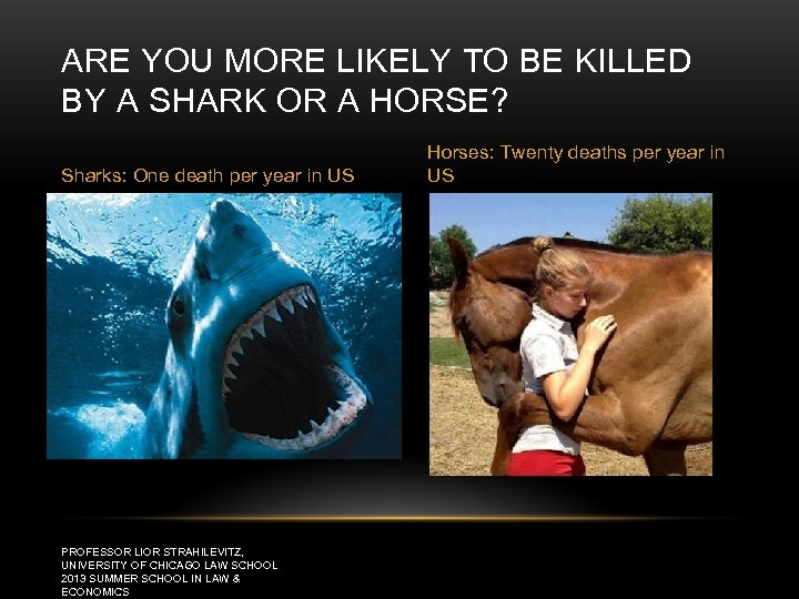 ARE YOU MORE LIKELY TO BE KILLED BY A SHARK OR A HORSE? Sharks: