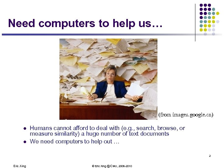 Need computers to help us… (from images. google. cn) l l Humans cannot afford