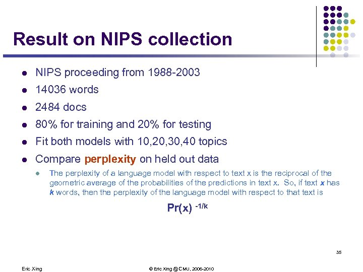 Result on NIPS collection l NIPS proceeding from 1988 -2003 l 14036 words l