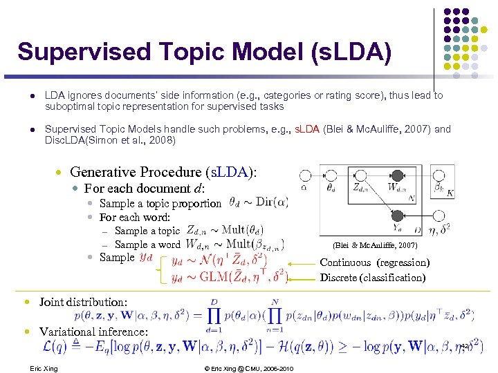 Supervised Topic Model (s. LDA) l LDA ignores documents' side information (e. g. ,