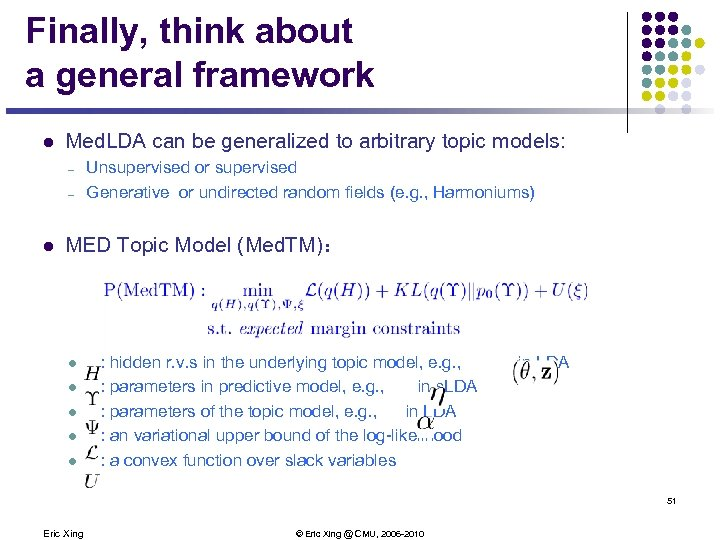 Finally, think about a general framework l Med. LDA can be generalized to arbitrary