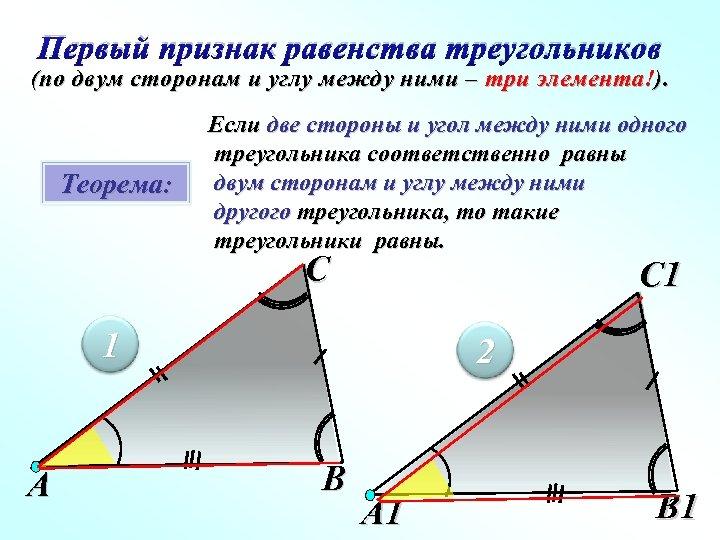 Первый признак равенства треугольников (по двум сторонам и углу между ними – три элемента!).
