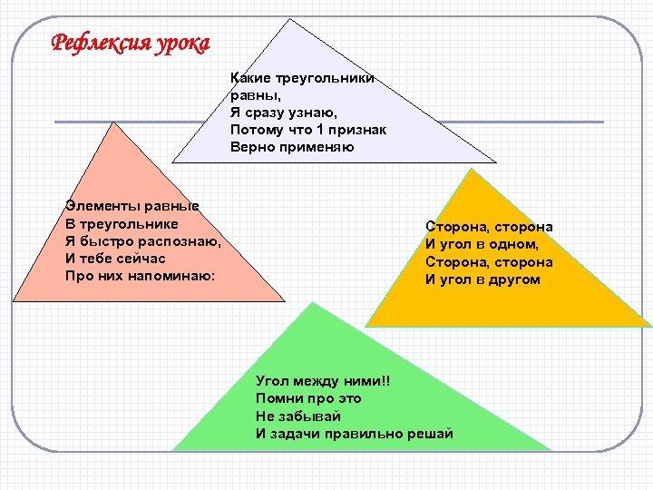 Рефлексия урока Какие треугольники равны, Я сразу узнаю, Потому что 1 признак Верно применяю