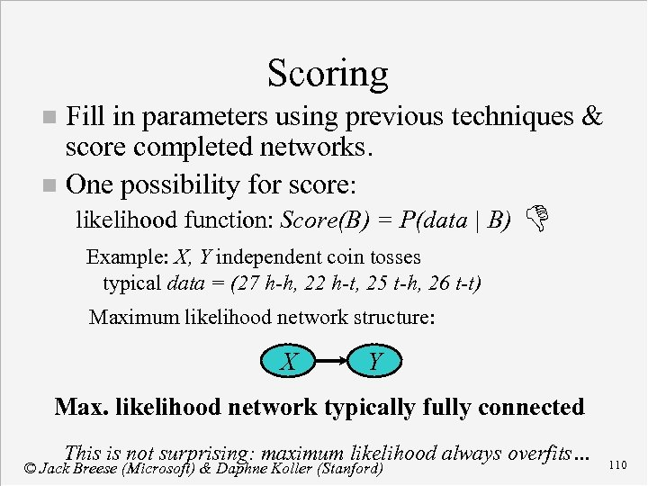 Scoring Fill in parameters using previous techniques & score completed networks. n One possibility