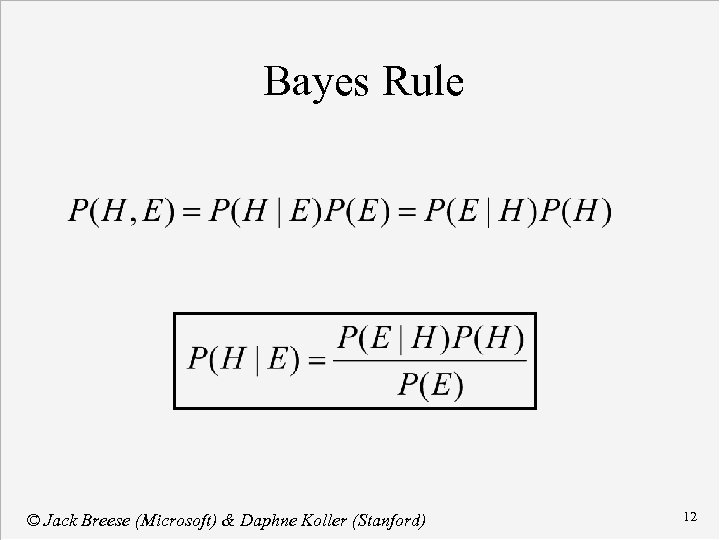 Bayes Rule © Jack Breese (Microsoft) & Daphne Koller (Stanford) 12