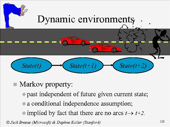 Dynamic environments State(t) n State(t+1) State(t+2) Markov property: u past independent of future given