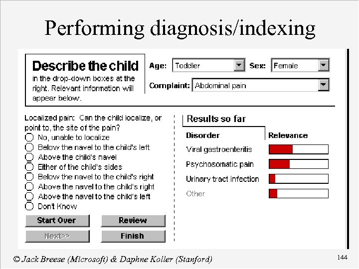 Performing diagnosis/indexing © Jack Breese (Microsoft) & Daphne Koller (Stanford) 144