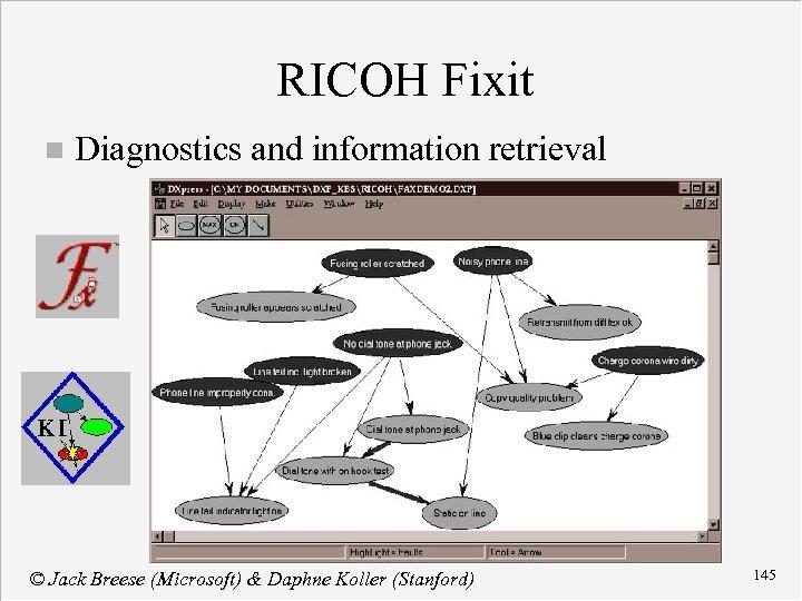 RICOH Fixit n Diagnostics and information retrieval © Jack Breese (Microsoft) & Daphne Koller