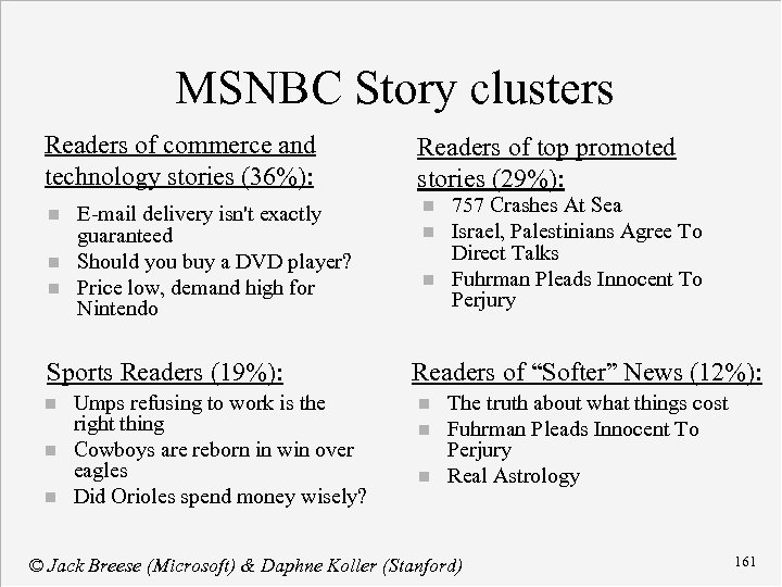 MSNBC Story clusters Readers of commerce and technology stories (36%): n n n E-mail