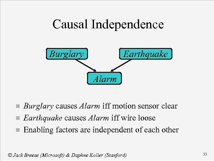 Causal Independence Burglary Earthquake Alarm n n n Burglary causes Alarm iff motion sensor