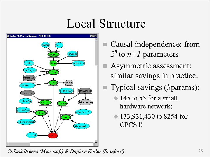 Local Structure n n n Causal independence: from 2 n to n+1 parameters Asymmetric