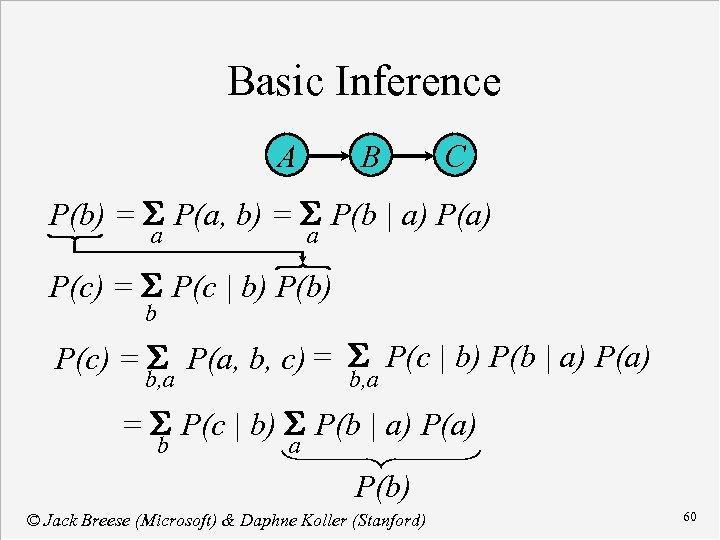 Basic Inference A B C P(b) = S P(a, b) = S P(b |