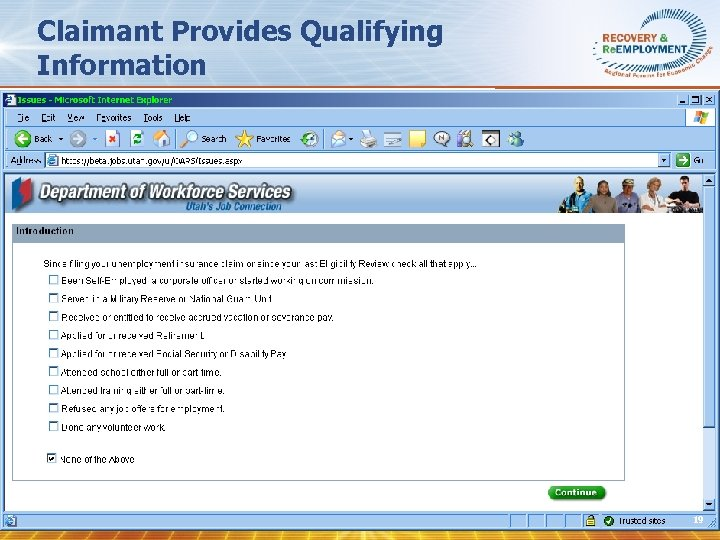 Claimant Provides Qualifying Information 19