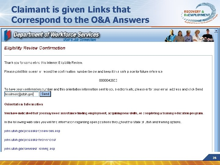 Claimant is given Links that Correspond to the O&A Answers 28