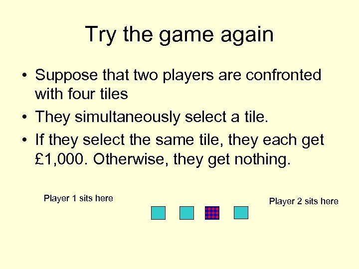 Try the game again • Suppose that two players are confronted with four tiles