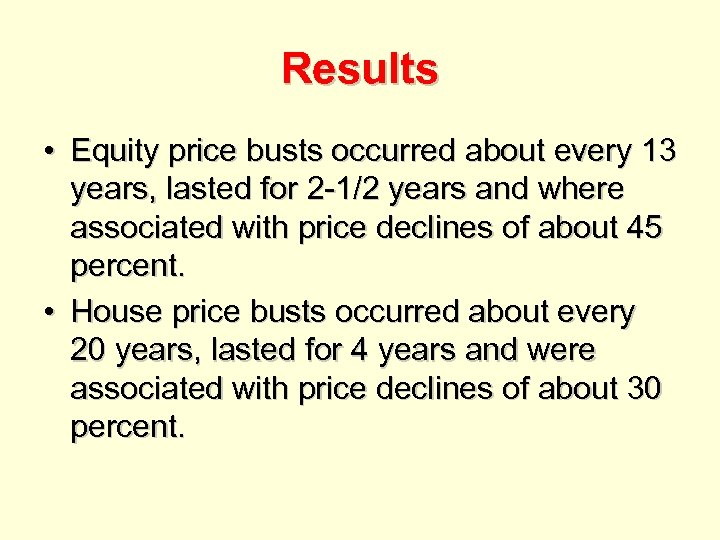 Results • Equity price busts occurred about every 13 years, lasted for 2 -1/2