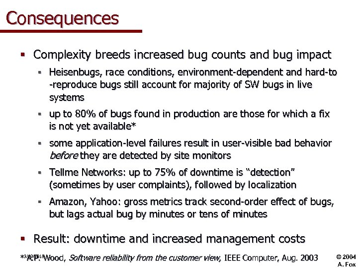 Consequences § Complexity breeds increased bug counts and bug impact § Heisenbugs, race conditions,