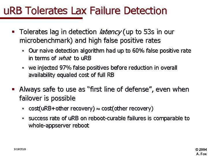 u. RB Tolerates Lax Failure Detection § Tolerates lag in detection latency (up to