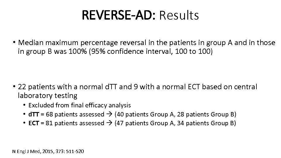 REVERSE-AD: Results • Median maximum percentage reversal in the patients in group A and