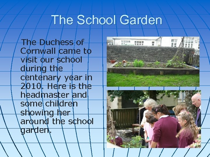 The School Garden The Duchess of Cornwall came to visit our school during the