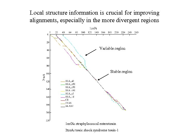 Local structure information is crucial for improving alignments, especially in the more divergent regions