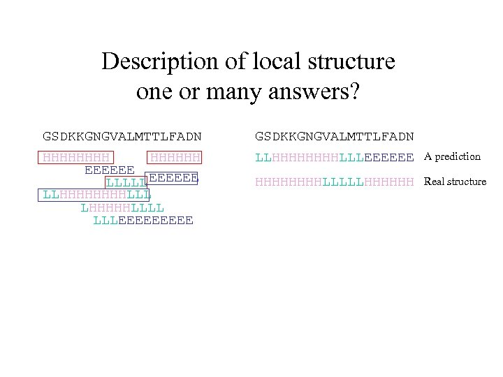 Description of local structure one or many answers? GSDKKGNGVALMTTLFADN HHHHHH EEEEEE LLLLL EEEEEE LLHHHHLLL