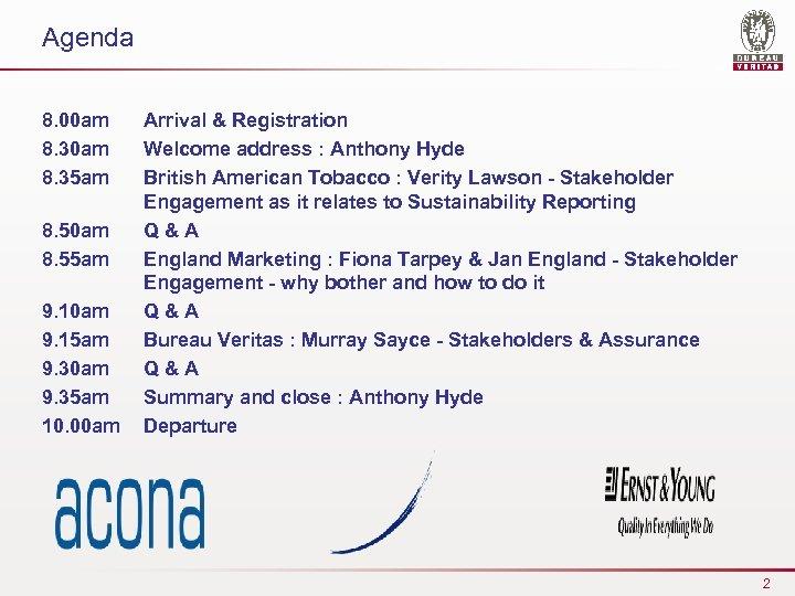 Agenda 8. 00 am 8. 35 am 8. 50 am 8. 55 am 9.