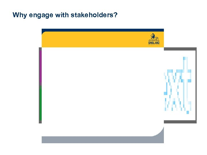 Why engage with stakeholders? www. englandmarketing. co. uk