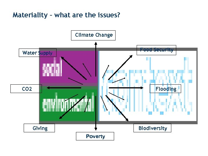 Materiality – what are the issues? Climate Change Food Security Water Supply CO 2
