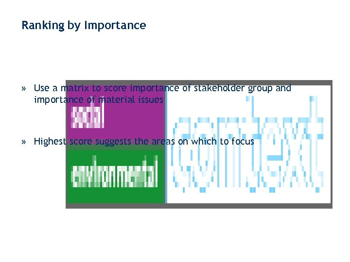 Ranking by Importance » Use a matrix to score importance of stakeholder group and