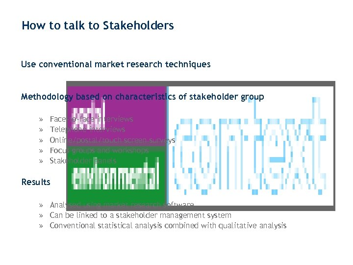 How to talk to Stakeholders Use conventional market research techniques Methodology based on characteristics
