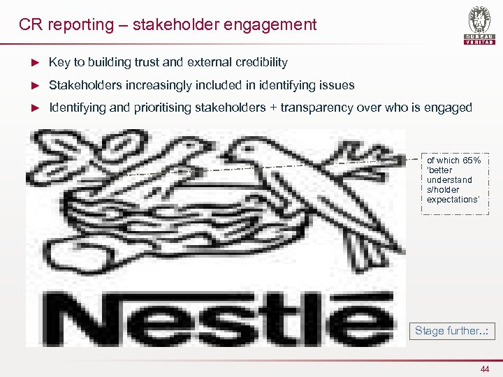 CR reporting – stakeholder engagement ► Key to building trust and external credibility ►