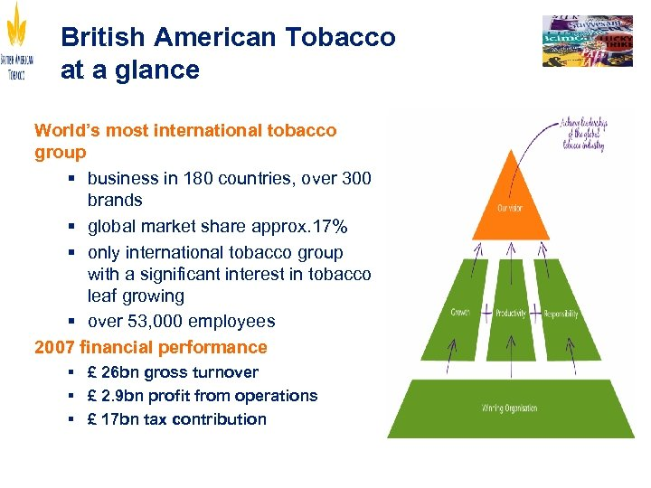 British American Tobacco at a glance World's most international tobacco group § business in
