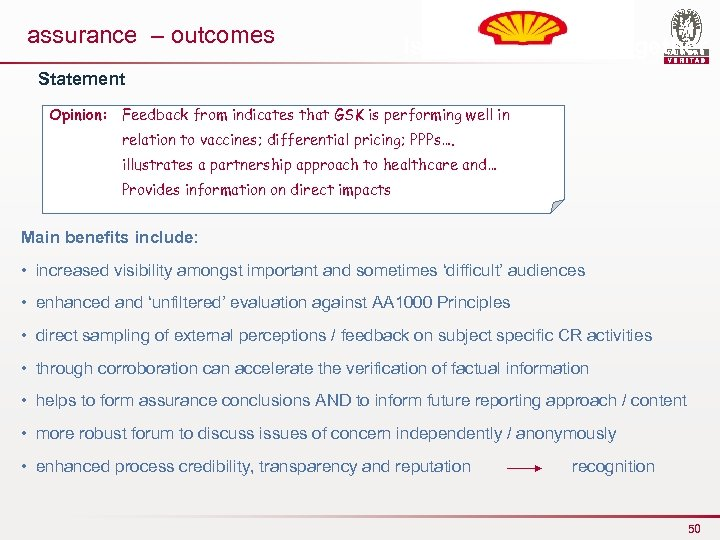 assurance – outcomes Issues to manage together Statement Opinion: Feedback from indicates that GSK