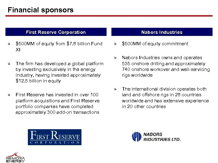 Financial sponsors First Reserve Corporation » Nabors Industries » $500 MM of equity commitment