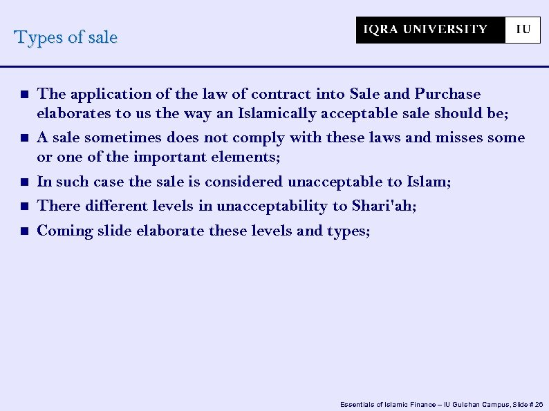 Types of sale The application of the law of contract into Sale and Purchase