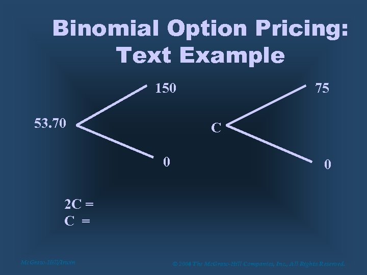 Binomial Option Pricing: Text Example 150 53. 70 75 C 0 0 2 C