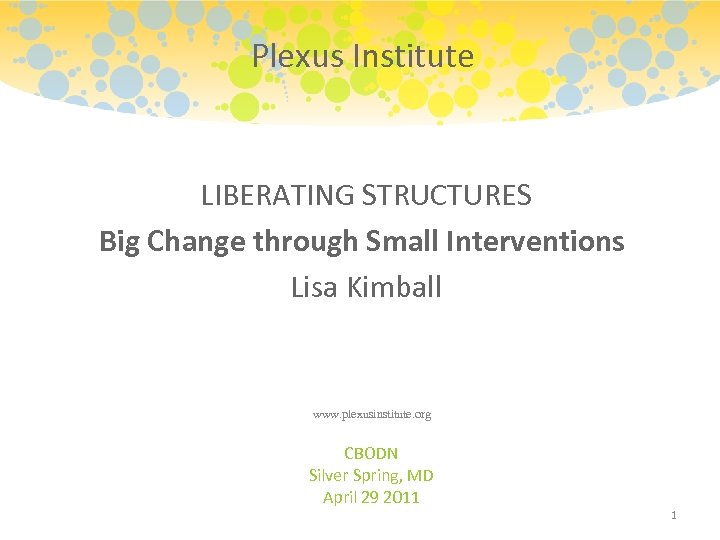 Plexus Institute LIBERATING STRUCTURES Big Change through Small Interventions Lisa Kimball www. plexusinstitute. org