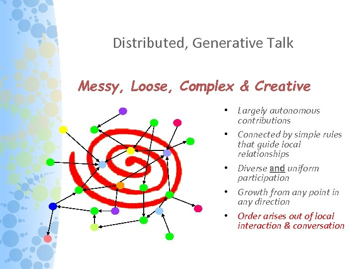 Distributed, Generative Talk Messy, Loose, Complex & Creative • Largely autonomous contributions • Connected