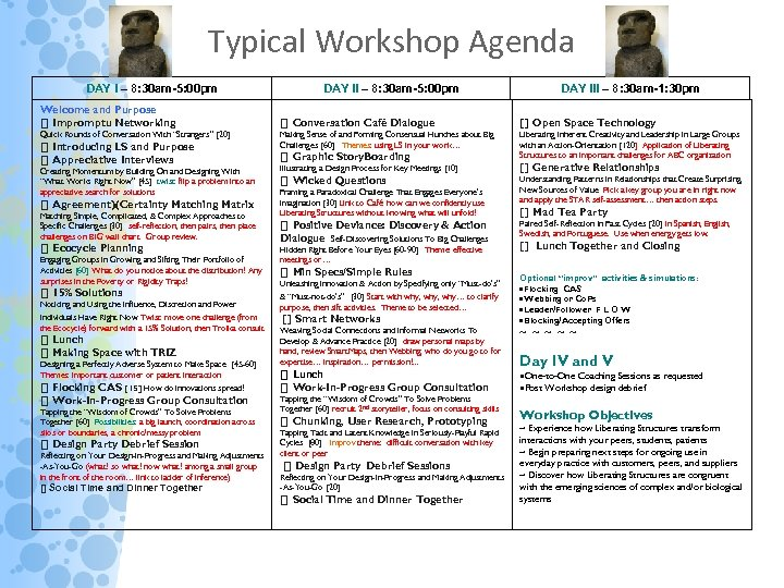 Typical Workshop Agenda DAY I – 8: 30 am-5: 00 pm Welcome and Purpose