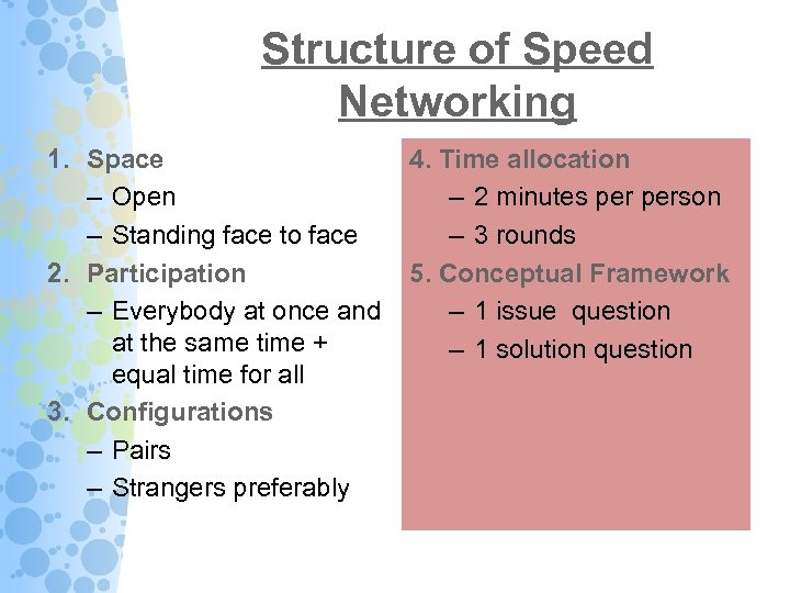 Structure of Speed Networking 1. Space – Open – Standing face to face 2.