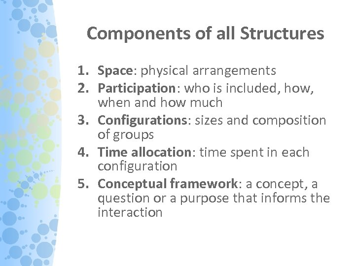 Components of all Structures 1. Space: physical arrangements 2. Participation: who is included, how,