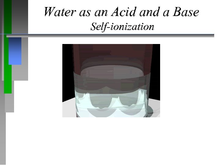 Water as an Acid and a Base Self-ionization