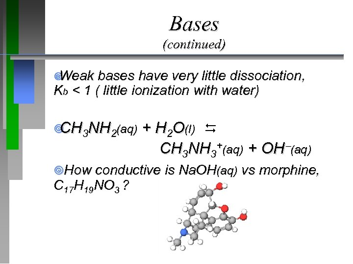 Bases (continued) ¥ Weak bases have very little dissociation, Kb < 1 ( little