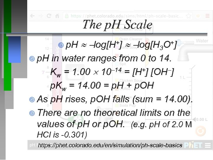 The p. H Scale ¥ p. H log[H+] log[H 3 O+] ¥ p. H