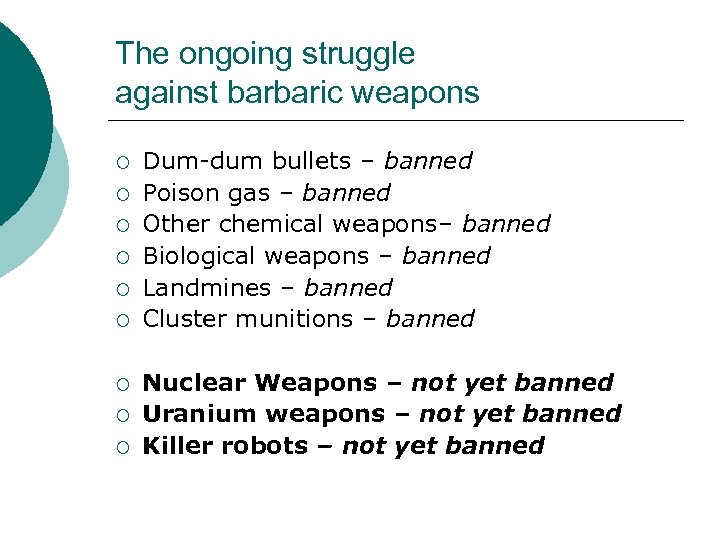 The ongoing struggle against barbaric weapons ¡ ¡ ¡ ¡ ¡ Dum-dum bullets –