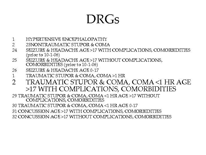 DRGs 1 2 24 25 26 1 2 HYPERTENSIVE ENCEPHALOPATHY 23 NONTRAUMATIC STUPOR &