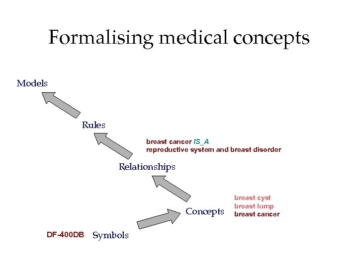 Formalising medical concepts Models Rules breast cancer IS_A reproductive system and breast disorder Relationships